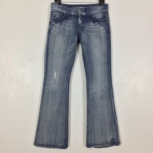 Guess Daredevil Flare Leg Jeans Distressed Stretch
